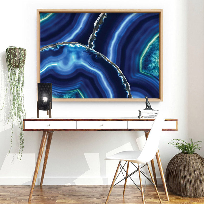 Agate Slice Geode Blues & Greens - Art Print, Stretched Canvas or Framed Canvas Wall Art, Shown inside a frame