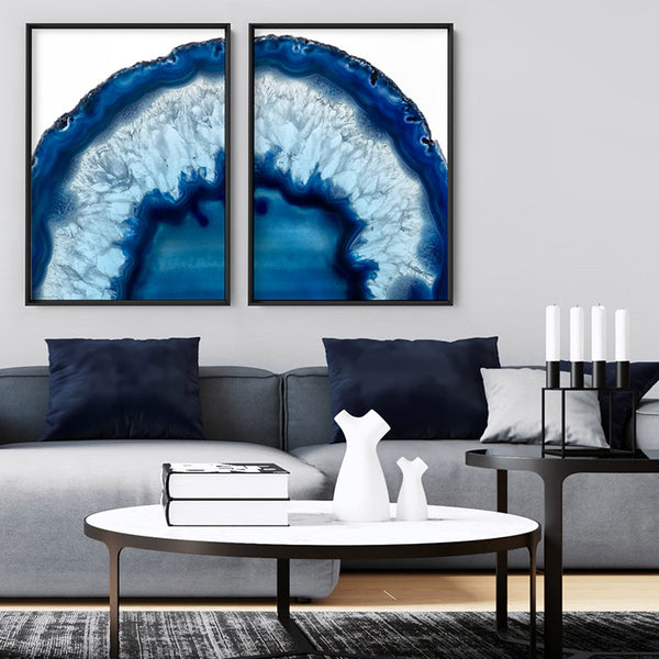 Agate Slice Geode Blues V2 - Art Print, Stretched Canvas, or Framed Canvas Wall Art