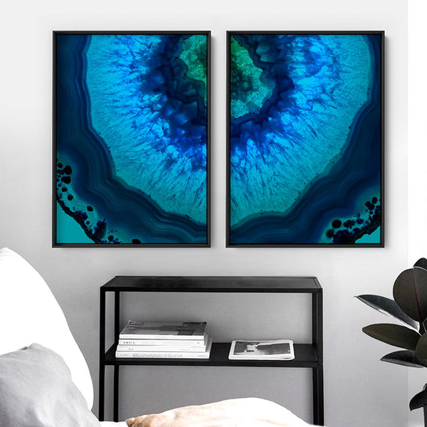 Agate Slice Geode Blues & Greens V1 - Art Print, Stretched Canvas, or Framed Canvas Wall Art