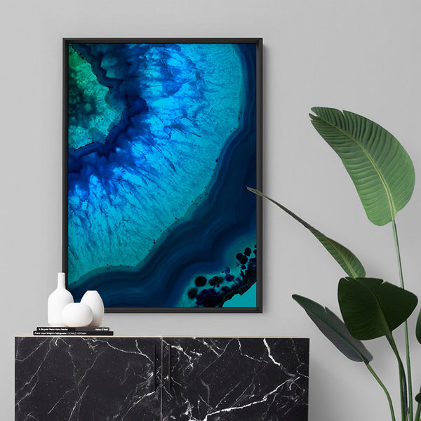 Agate Slice Geode Blues & Greens V2 - Art Print, Stretched Canvas, or Framed Canvas Wall Art