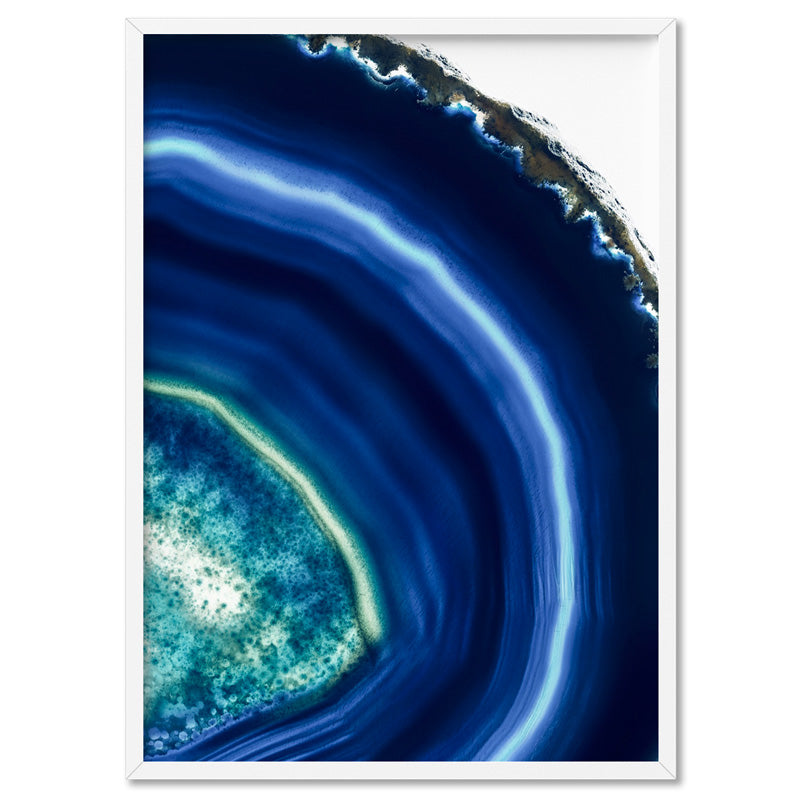 Agate Slice Geode Indigo II - Art Print, Stretched Canvas, or Framed Canvas Wall Art