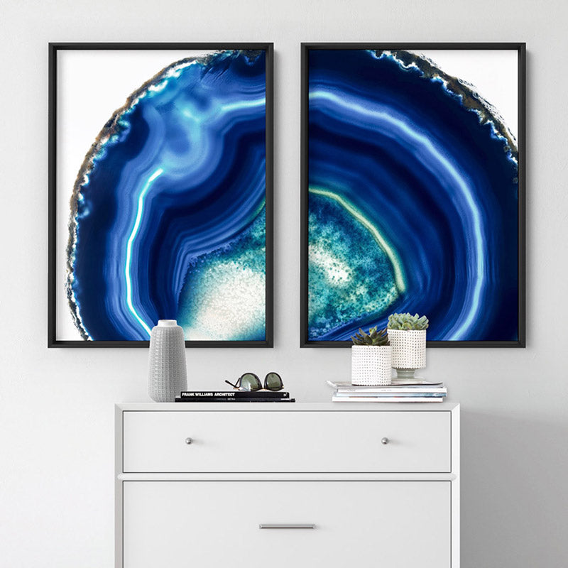 Agate Slice Geode Indigo II - Art Print, Stretched Canvas or Framed Canvas Wall Art, Shown framed in a room mockup