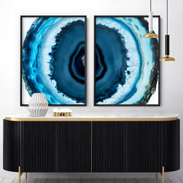 Agate Slice Geode Turquoise V3 - Art Print, Stretched Canvas, or Framed Canvas Wall Art