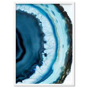 Agate Slice Geode Turquoise III - Art Print, Stretched Canvas, or Framed Canvas Wall Art