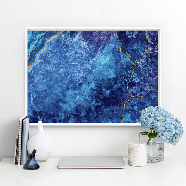 Agate Geode Lapis Lazuli II (faux gold lines)- Art Print, Stretched Canvas, or Framed Canvas Wall Art