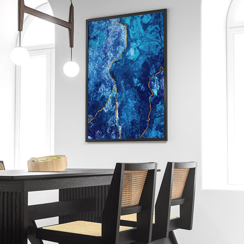Agate Geode Lapis Lazuli V1 (faux gold lines)- Art Print, Stretched Canvas, or Framed Canvas Wall Art