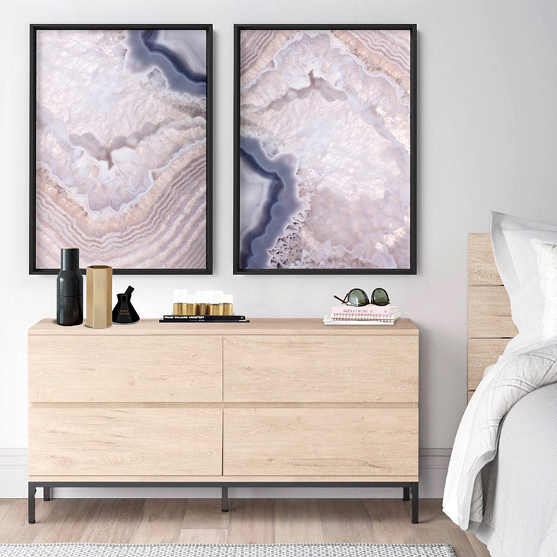 Agate Gem in Blush I - Art Print, Stretched Canvas or Framed Canvas Wall Art, Shown inside a frame