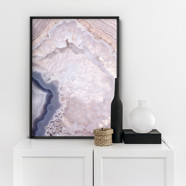 Agate Gem in Blush II - Art Print, Stretched Canvas, or Framed Canvas Wall Art