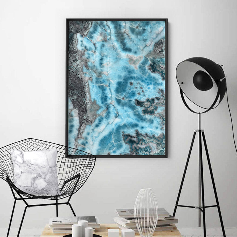 Larimar Slice Stone in Turquoise Watercolour - Art Print, Stretched Canvas or Framed Canvas Wall Art, Shown inside a frame