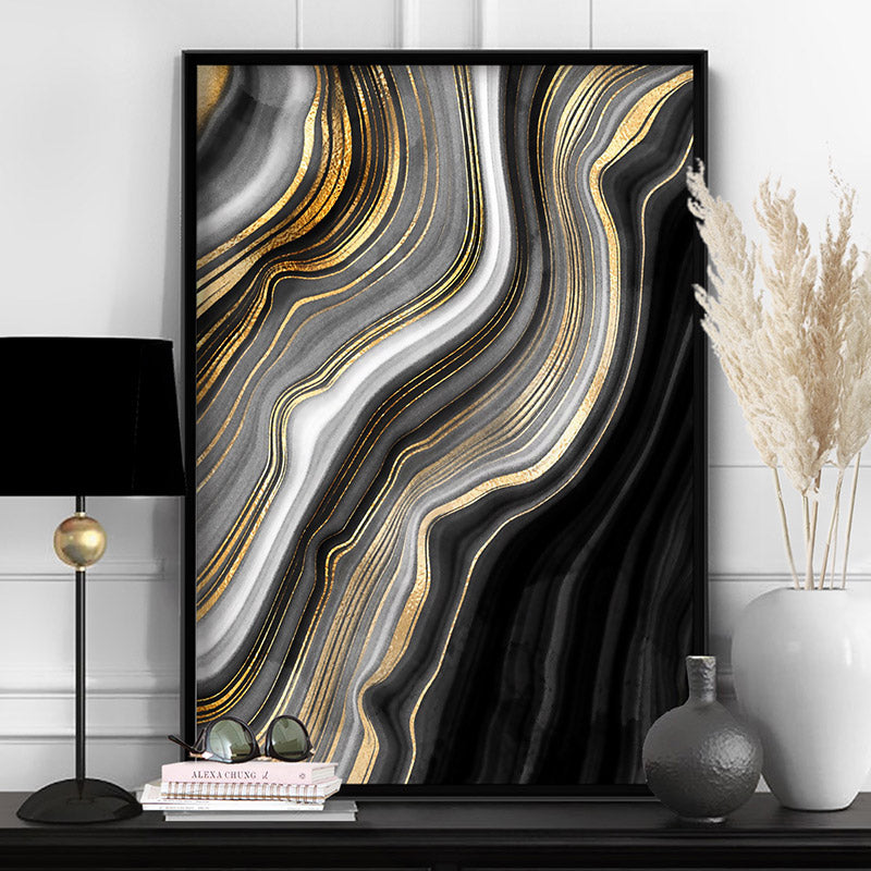 Agate Slice Luxury I - Art Print, Stretched Canvas or Framed Canvas Wall Art, Shown inside a frame
