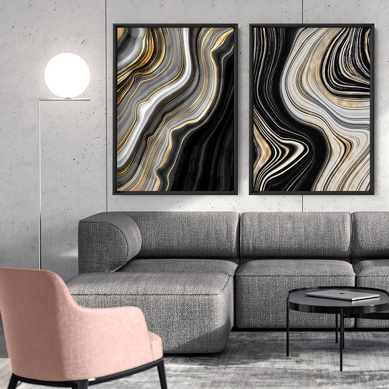 Agate Slice Luxury I - Art Print, Stretched Canvas or Framed Canvas Wall Art, Shown framed in a room mockup