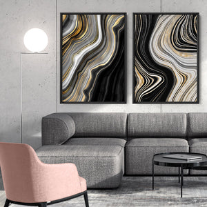 Agate Slice Luxury II - Art Print, Stretched Canvas or Framed Canvas Wall Art, Shown framed in a room mockup