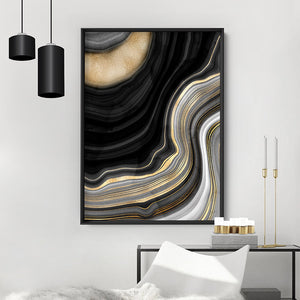 Agate Slice Luxury III - Art Print, Stretched Canvas or Framed Canvas Wall Art, Shown inside a frame