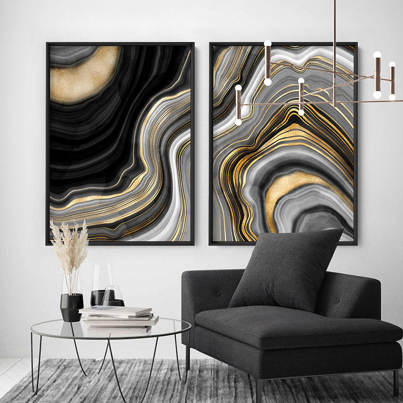 Agate Slice Luxury III - Art Print, Stretched Canvas or Framed Canvas Wall Art, Shown framed in a room mockup