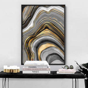 Agate Slice Luxury IV - Art Print, Stretched Canvas or Framed Canvas Wall Art, Shown inside a frame