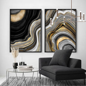Agate Slice Luxury IV - Art Print, Stretched Canvas or Framed Canvas Wall Art, Shown framed in a room mockup
