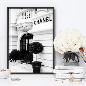 Designer Store Front Monaco Portrait - Art Print, Stretched Canvas or Framed Canvas Wall Art, Shown inside a frame