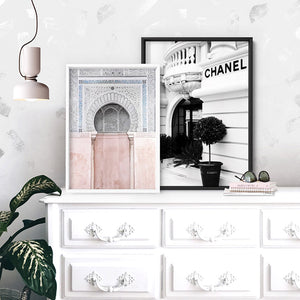 Designer Store Front Monaco Portrait - Art Print, Stretched Canvas or Framed Canvas Wall Art, Shown framed in a room mockup