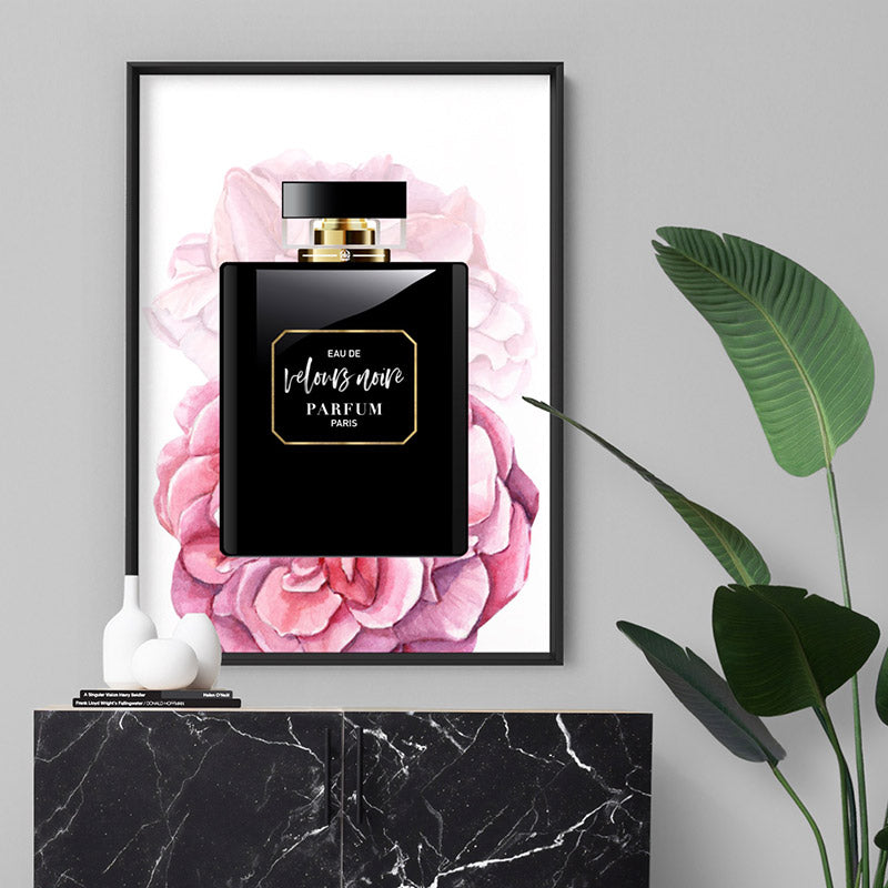 Perfume Bottle Floral II - Art Print, Stretched Canvas or Framed Canvas Wall Art, Shown inside a frame