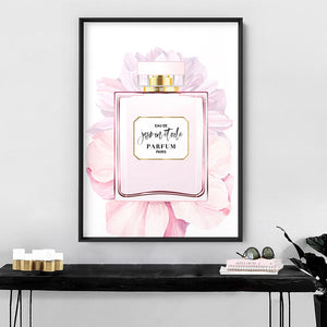 Perfume Bottle Floral III - Art Print, Stretched Canvas or Framed Canvas Wall Art, Shown inside a frame