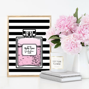 Perfume Bottle Stripes & Pink - Art Print, Stretched Canvas or Framed Canvas Wall Art, Shown inside a frame