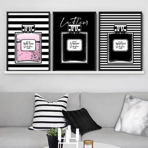 Perfume Bottle Stripes & Pink - Art Print, Stretched Canvas or Framed Canvas Wall Art, Shown framed in a room mockup