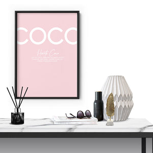 Haute Coco Blush - Art Print, Stretched Canvas or Framed Canvas Wall Art, Shown inside a frame