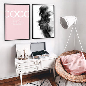 Haute Coco Blush - Art Print, Stretched Canvas or Framed Canvas Wall Art, Shown framed in a room mockup