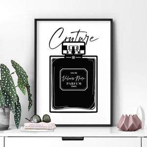 Black Scandi Perfume Bottle I - Art Print, Stretched Canvas or Framed Canvas Wall Art, Shown inside a frame