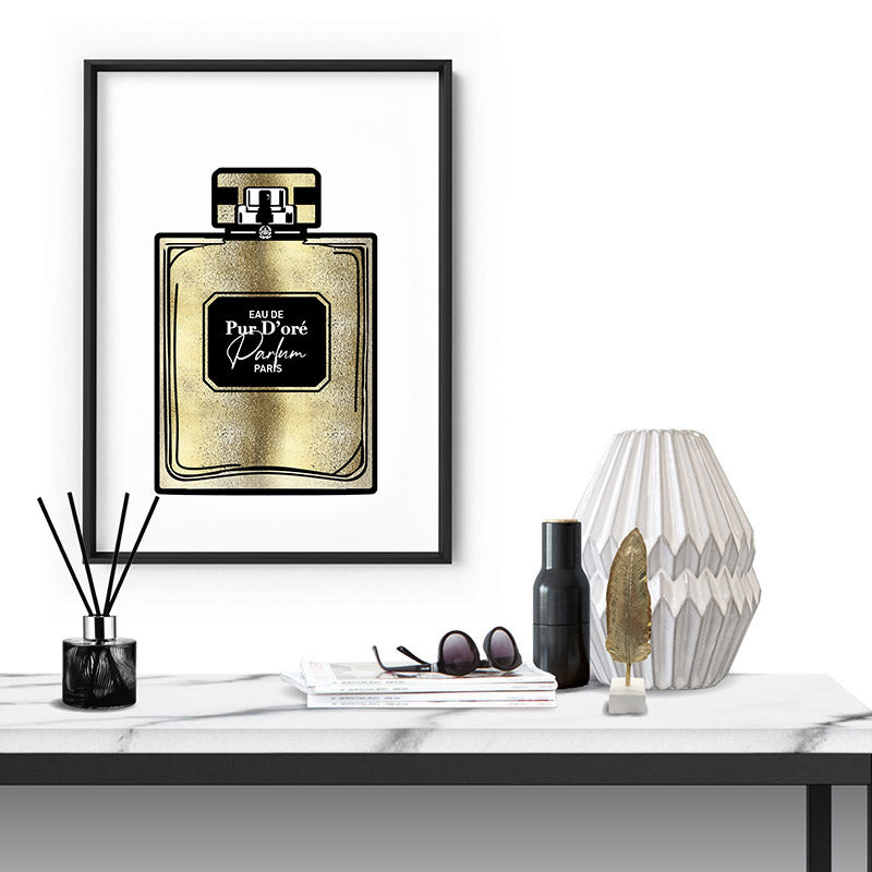 Solid Gold Perfume Bottle (faux look foil) - Art Print, Stretched Canvas or Framed Canvas Wall Art, Shown inside a frame