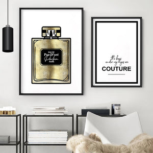 Solid Gold Perfume Bottle (faux look foil) - Art Print, Stretched Canvas or Framed Canvas Wall Art, Shown framed in a room mockup