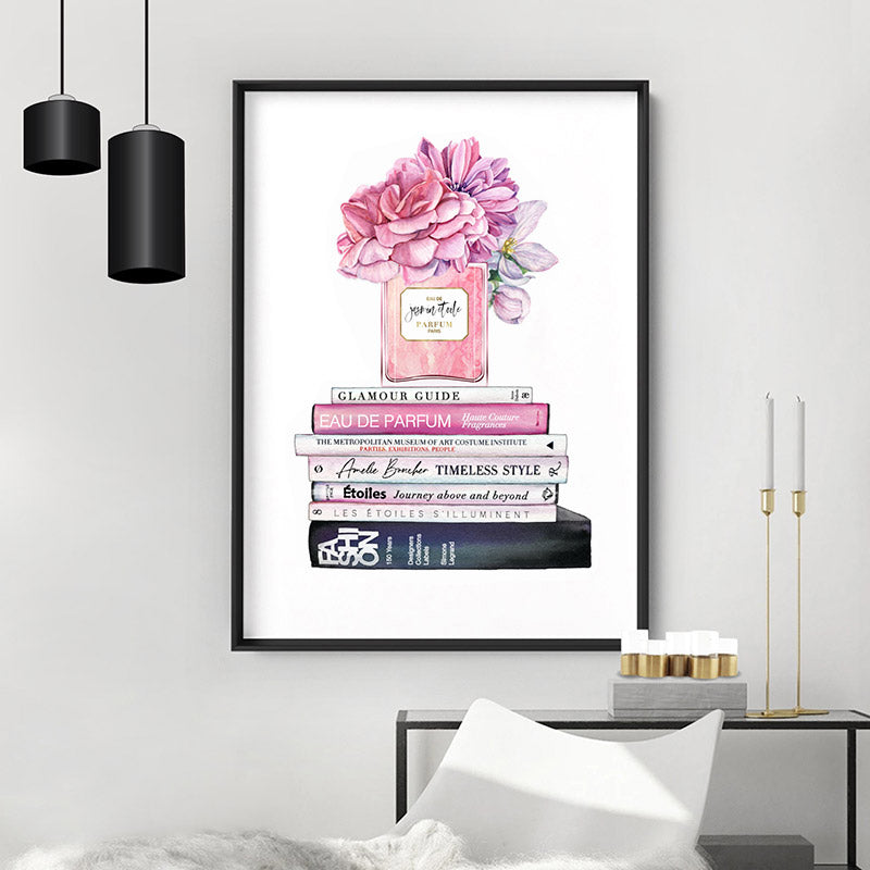 Load image into Gallery viewer, Perfume Bottle on Fashion Books Stack II - Art Print, Stretched Canvas or Framed Canvas Wall Art, Shown inside a frame