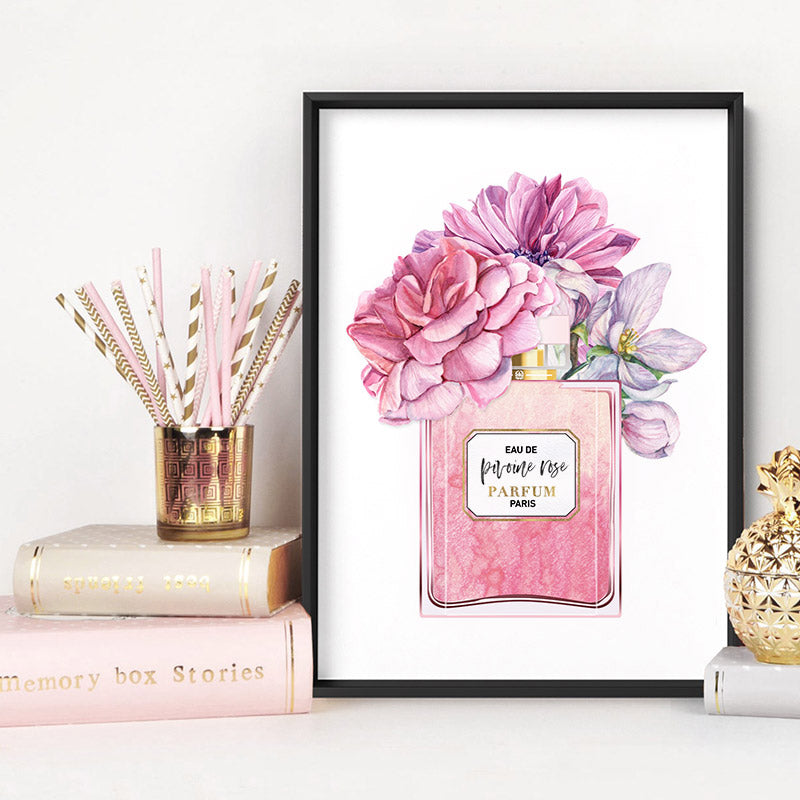 Pink Floral Perfume Bottle - Art Print, Stretched Canvas or Framed Canvas Wall Art, Shown inside a frame