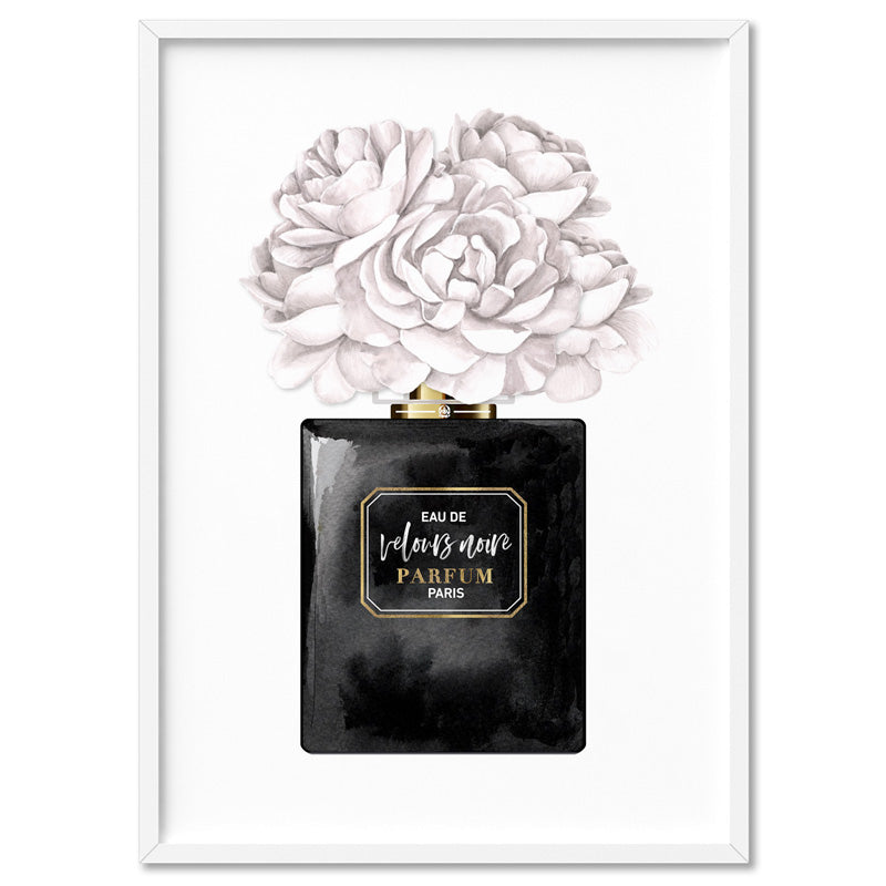 Black & White Floral Perfume Bottle - Art Print