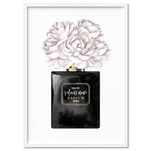 Black & White Floral Perfume Bottle - Art Print, Stretched Canvas, or Framed Canvas Wall Art