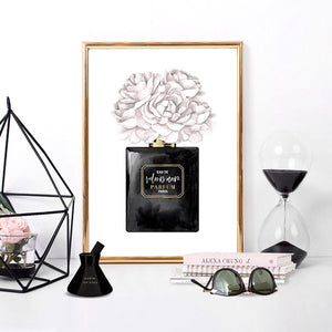 Black & White Floral Perfume Bottle - Art Print, Stretched Canvas or Framed Canvas Wall Art, Shown inside a frame