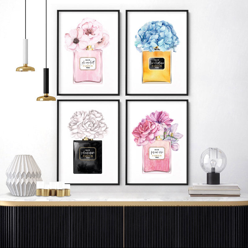 Black & White Floral Perfume Bottle - Art Print, Stretched Canvas or Framed Canvas Wall Art, Shown framed in a room mockup