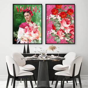 Load image into Gallery viewer, Mode Frida Kahlo Botanicals - Art Print, Stretched Canvas or Framed Canvas Wall Art, Shown framed in a room mockup