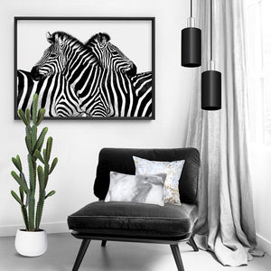 Zebra Embrace - Art Print, Stretched Canvas, or Framed Canvas Wall Art