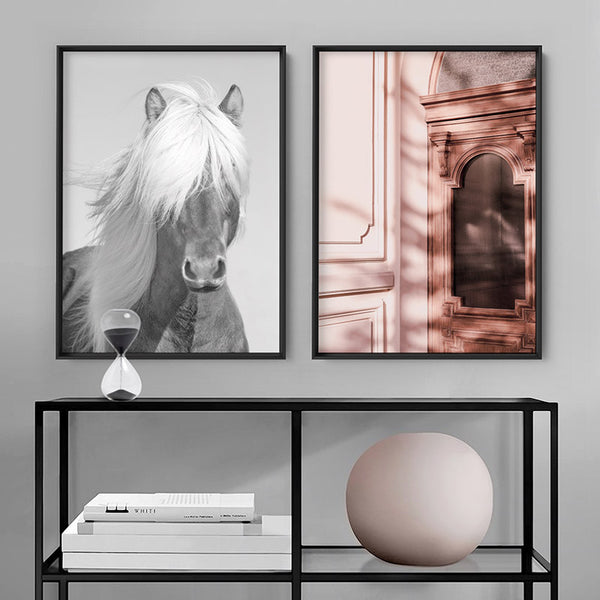 Horse Portrait B&W - Art Print, Stretched Canvas, or Framed Canvas Wall Art