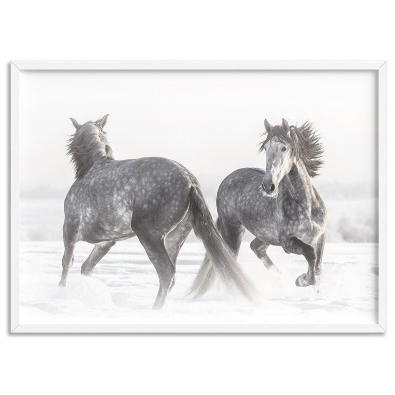 Grey Horses Dancing Duo B&W - Art Print, Stretched Canvas, or Framed Canvas Wall Art