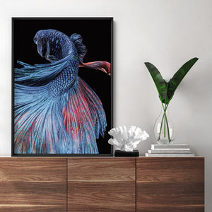 Load image into Gallery viewer, Japanese Red & Blue Betta Fighting Fish - Art Print