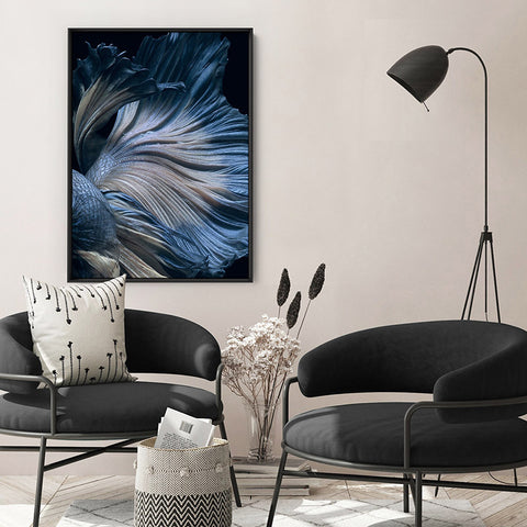 Japanese Blue Betta Fighting Fish - Art Print