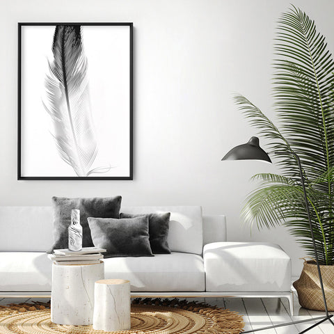 Feather Black & White - Art Print