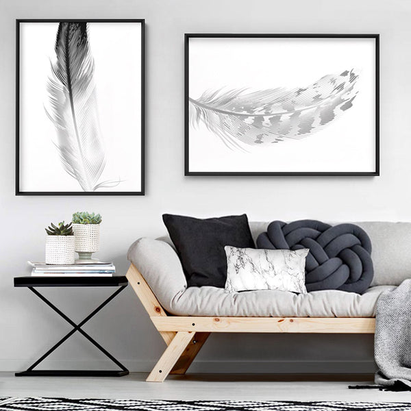 Speckled Feather Black & White - Art Print