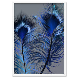 Peacock Feathers Blue Edit - Art Print, Stretched Canvas, or Framed Canvas Wall Art