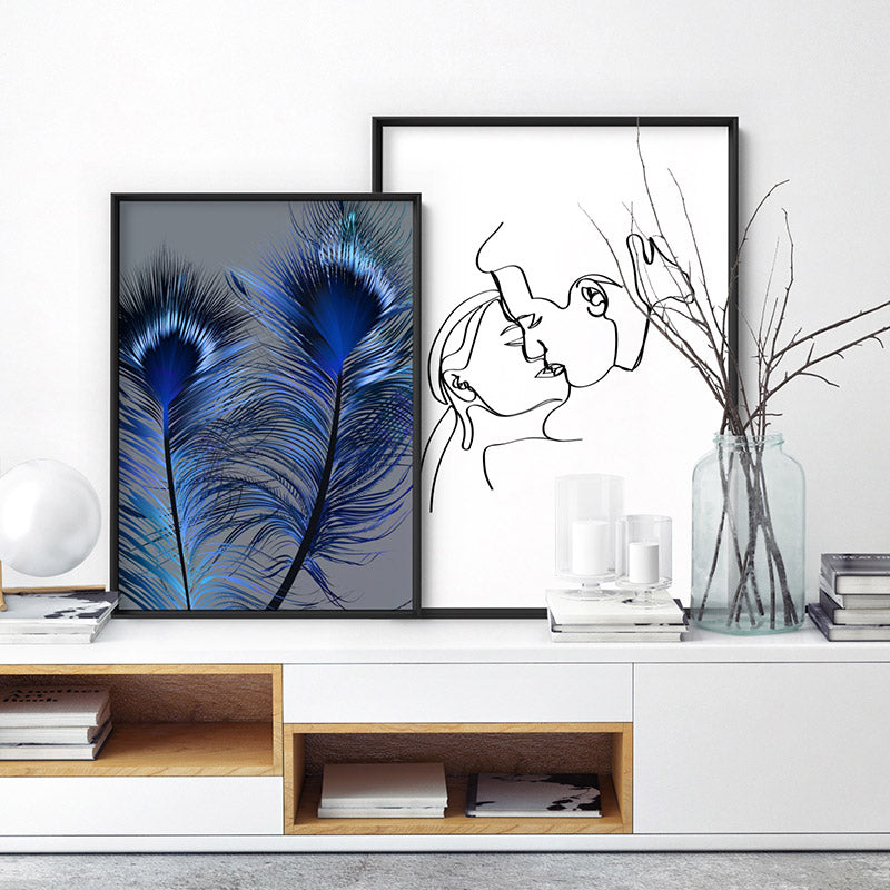 Peacock Feathers Blue Edit - Art Print, Stretched Canvas or Framed Canvas Wall Art, Shown framed in a room mockup