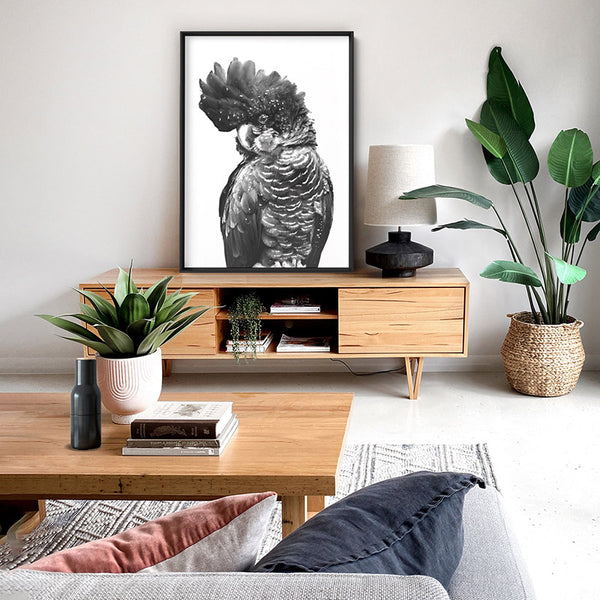 Black Cockatoo (black & white) - Art Print, Stretched Canvas, or Framed Canvas Wall Art