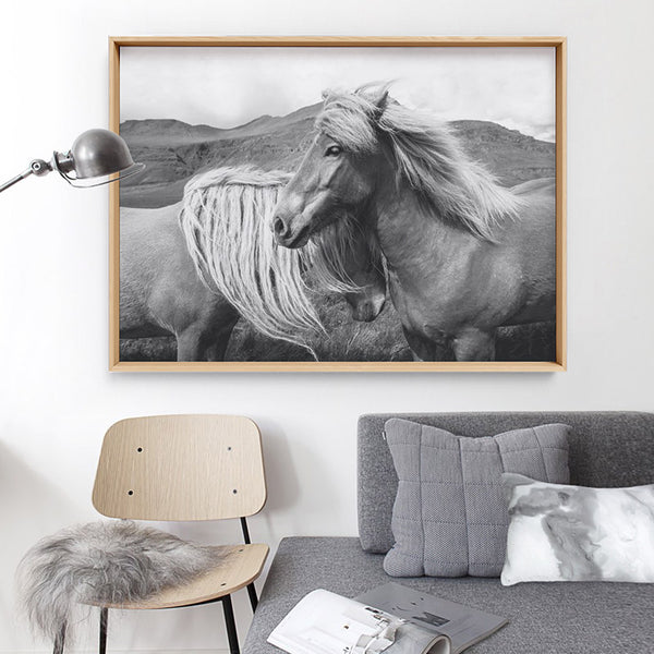 Horses Embrace in B&W - Art Print, Stretched Canvas, or Framed Canvas Wall Art