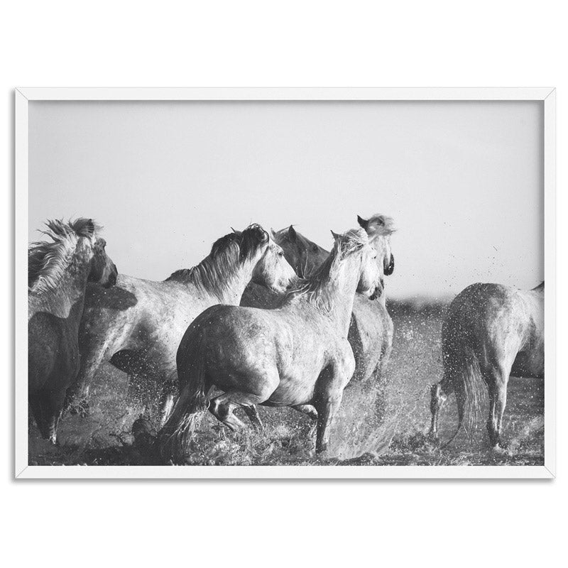 Horses in the Sea in B&W - Art Print, Stretched Canvas, or Framed Canvas Wall Art